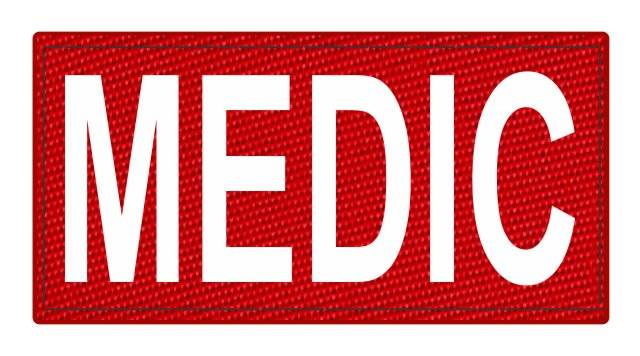 MEDIC Patch - 4x2 - White Lettering - Red Backing - Hook Fabric