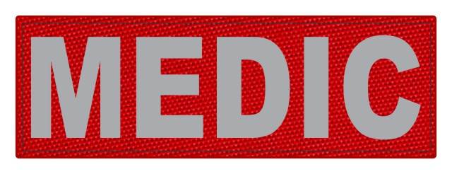 MEDIC Patch - 6x2 - Gray Lettering - Red Backing - Hook Fabric