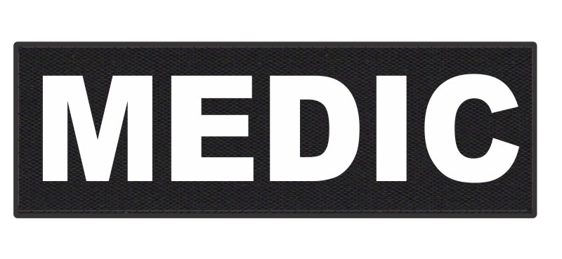 MEDIC Patch - 6x2 - White Lettering - Black Backing - Hook Fabric