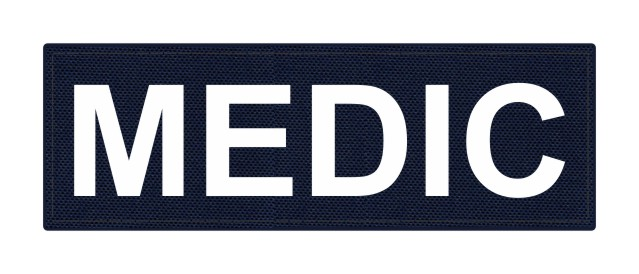 MEDIC Patch - 6x2 - White Lettering - Navy Backing - Hook Fabric