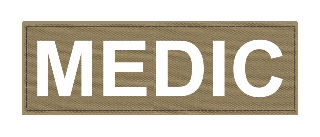 MEDIC Patch - 6x2 - White Lettering - Tan Backing - Hook Fabric