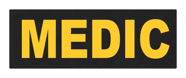 MEDIC Patch - 8.5x3.0 - Gold Lettering - Black Backing - Hook Fabric