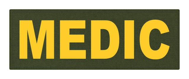 MEDIC Patch - 8.5x3.0 - Gold Lettering - OD Green Backing - Hook Fabric