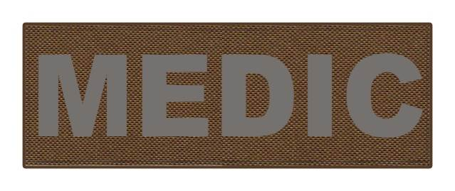 MEDIC Patch - 8.5x3.0 - Gray Lettering - Coyote Backing - Hook Fabric