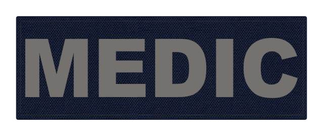 MEDIC Patch - 8.5x3.0 - Gray Lettering - Navy Backing - Hook Fabric