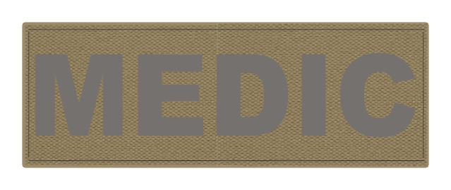 MEDIC Patch - 8.5x3.0 - Gray Lettering - Tan Backing - Hook Fabric