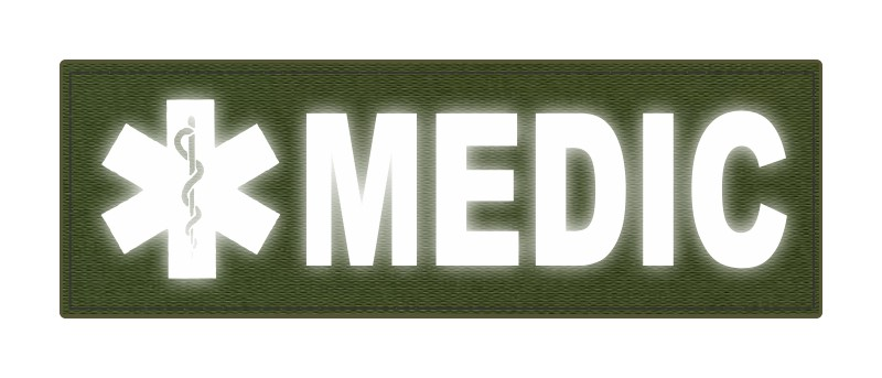 MEDIC Patch - Star of Life - 6x2 - Reflective Lettering - OD Green Backing - Hook Fabric