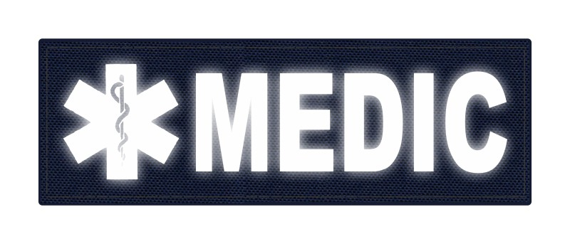 MEDIC Patch - Star of Life - 6x2 - Reflective Lettering - Navy Backing - Hook Fabric