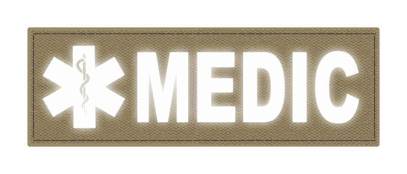 MEDIC Patch - Star of Life - 6x2 - Reflective Lettering - Tan Backing - Hook Fabric