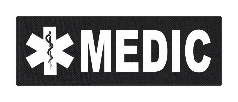 MEDIC Patch - Star of Life - 6x2 - White Lettering - Black Backing - Hook Fabric