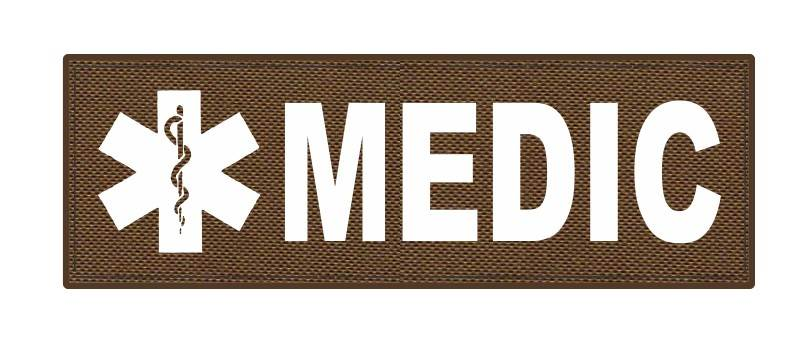 MEDIC Patch - Star of Life - 6x2 - White Lettering - Coyote Backing - Hook Fabric