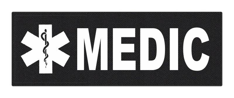 MEDIC Patch - Star of Life - 8.5x3.0 - White Lettering - Black Backing - Hook Fabric