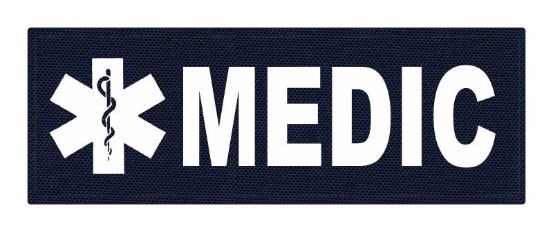 MEDIC Patch - Star of Life - 8.5x3.0 - White Lettering - Navy Backing - Hook Fabric