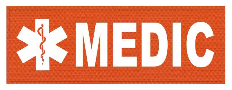 MEDIC Patch - Star of Life - 8.5x3.0 - White Lettering - Orange Backing - Hook Fabric