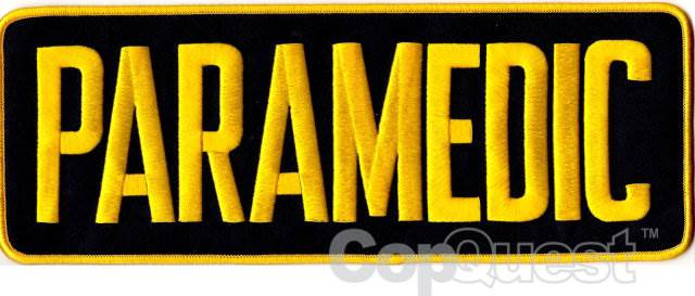 PARAMEDIC Back Patch - 11 x 4 - Medium Gold Lettering - Midnight-Navy Backing