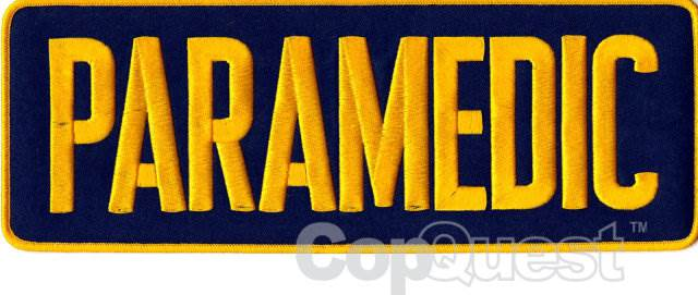 PARAMEDIC Back Patch - 11 x 4 - Medium Gold Lettering - Navy Backing