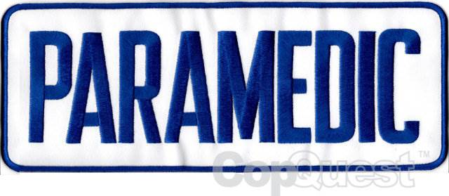 PARAMEDIC Back Patch - 11 x 4 - Royal Blue Lettering - White Backing