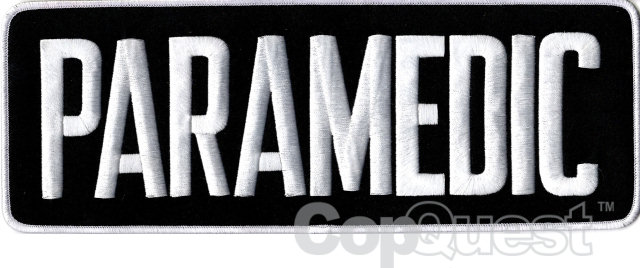 PARAMEDIC Back Patch - 11 x 4 - White Lettering - Mid-Navy Backing