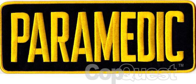 PARAMEDIC Back Patch - 11 x 4 - Medium Gold Lettering - Black Backing