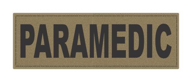 PARAMEDIC ID Patch - 6x2 - Black Lettering - Tan Backing - Hook Fabric