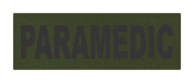 PARAMEDIC ID Patch - 6x2 - Black Lettering - OD Green Backing - Hook Fabric