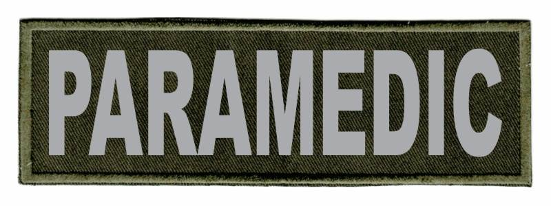 PARAMEDIC ID Patch - 6x2 - Gray Lettering - OD Green Twill Backing