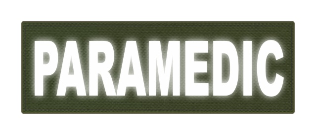 PARAMEDIC ID Patch - 6x2 - Reflective White Lettering - OD Green Backing - Hook Fabric