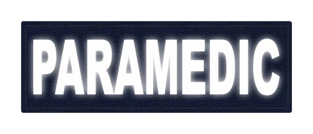 PARAMEDIC ID Patch - 6x2 - Reflective White Lettering - Navy Backing - Hook Fabric
