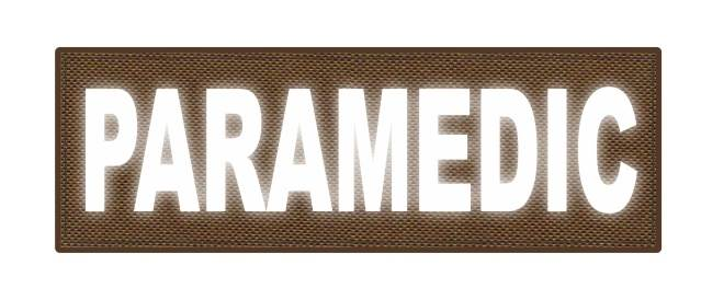 PARAMEDIC ID Patch - 6x2 - Reflective White Lettering - Coyote Backing - Hook Fabric