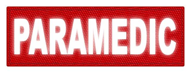PARAMEDIC ID Patch - 6x2 - Reflective White Lettering - Red Backing - Hook Fabric