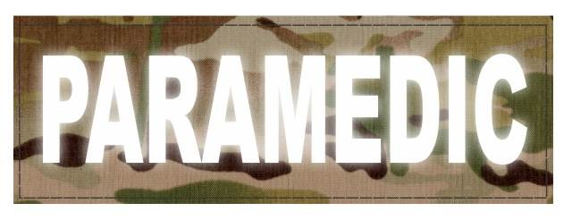 PARAMEDIC ID Patch - 6x2 - Reflective White Lettering - Multicam Backing - Hook Fabric