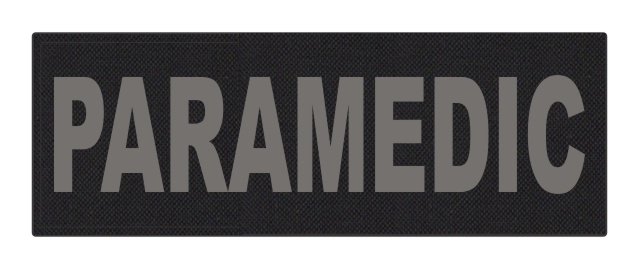PARAMEDIC ID Patch - 8.5x3 - Gray Lettering - Black Backing - Hook Fabric