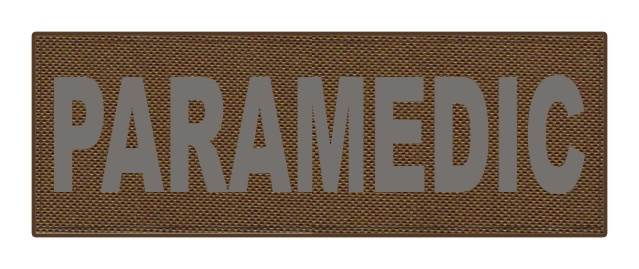 PARAMEDIC ID Patch - 8.5x3 - Gray Lettering - Coyote Backing - Hook Fabric