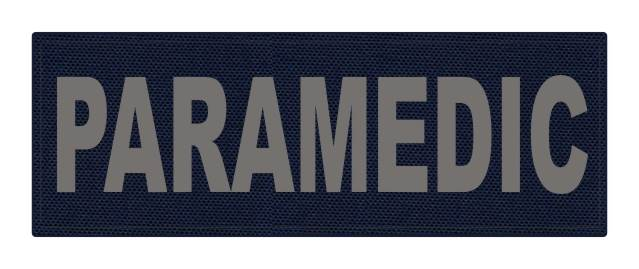 PARAMEDIC ID Patch - 8.5x3 - Gray Lettering - Navy Backing - Hook Fabric