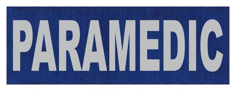 PARAMEDIC ID Patch - 8.5x3 - Gray Lettering - Royal Blue Backing - Hook Fabric