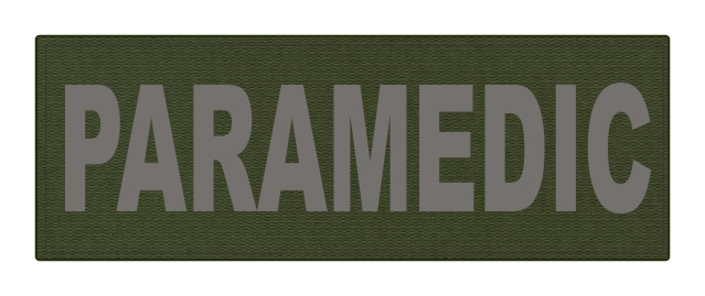 PARAMEDIC ID Patch - 8.5x3 - Gray Lettering - OD Green Backing - Hook Fabric