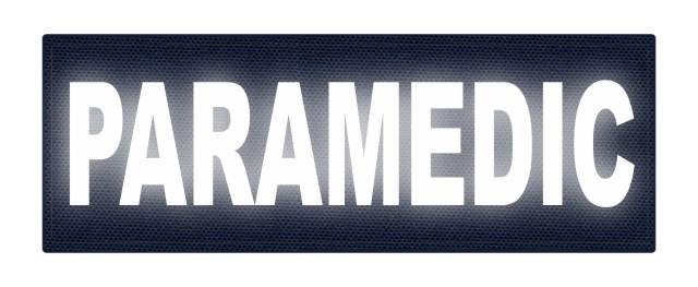PARAMEDIC ID Patch - 8.5x3 - Reflective White Lettering - Navy Backing - Hook Fabric