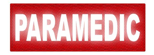 PARAMEDIC ID Patch - 8.5x3 - Reflective White Lettering - Red Backing - Hook Fabric