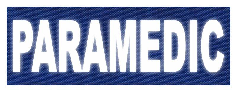 PARAMEDIC ID Patch - 8.5x3 - Reflective White Lettering - Royal Blue Backing - Hook Fabric