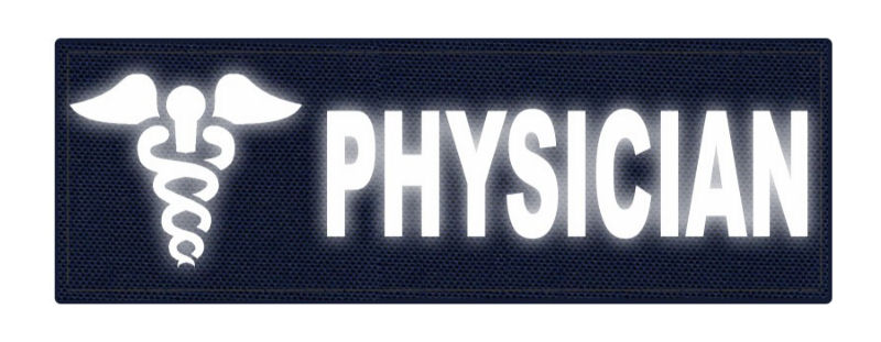 PHYSICIAN Caduceus ID Patch - 6x2 - Reflective Lettering - Navy Blue Backing - Hook Fabric