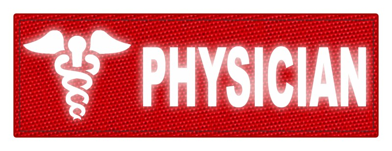 PHYSICIAN Caduceus ID Patch - 6x2 - Reflective Lettering - Red Backing - Hook Fabric