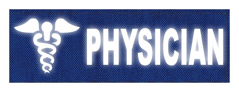 PHYSICIAN Caduceus ID Patch - 6x2 - Reflective Lettering - Royal Blue Backing - Hook Fabric