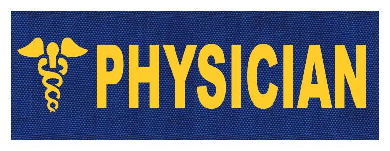 PHYSICIAN Caduceus ID Patch - 8.5x3 - Gold Lettering - Royal Blue Backing - Hook Fabric