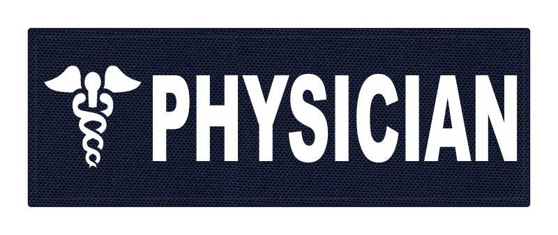 PHYSICIAN Caduceus ID Patch - 8.5x3 - White Lettering - Navy Backing - Hook Fabric