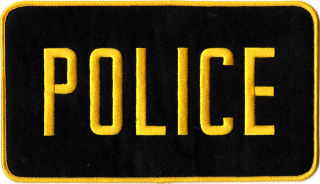 POLICE Back Patch - 9 x 5 - Gold Lettering: Black Backing