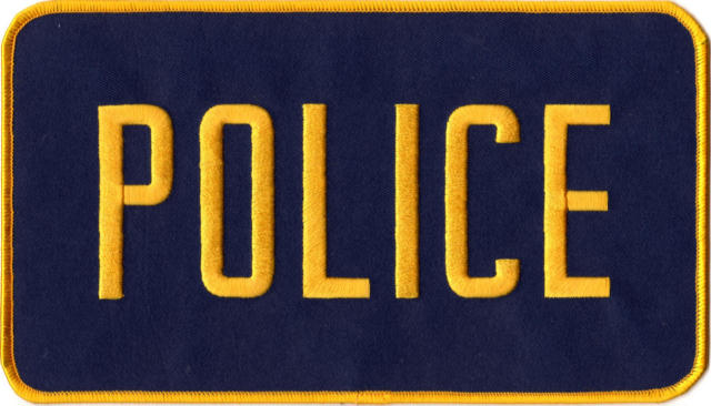 POLICE Back Patch - 9 x 5 - Gold Lettering: Navy Backing