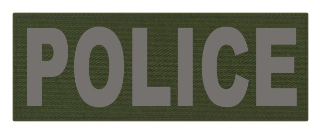 POLICE ID Patch - 11x4 - Gray Lettering - OD Green Backing - Hook Fabric