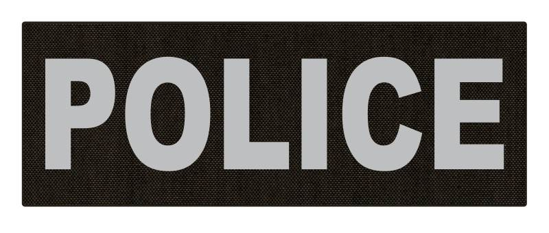 POLICE ID Patch - 11x4 - Gray Lettering - Ranger Green Backing - Hook Fabric