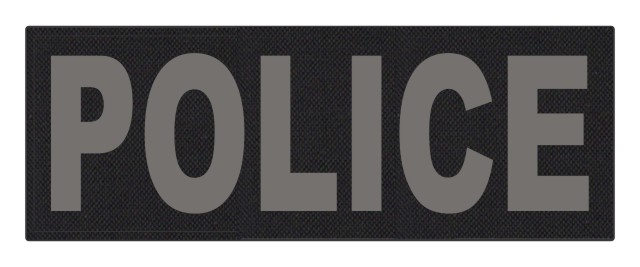 POLICE ID Patch - 11x4 - Gray Lettering - Black Backing - Hook Fabric
