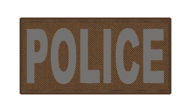 POLICE ID Patch - 4x2 - Gray Lettering - Coyote Backing - Hook Fabric